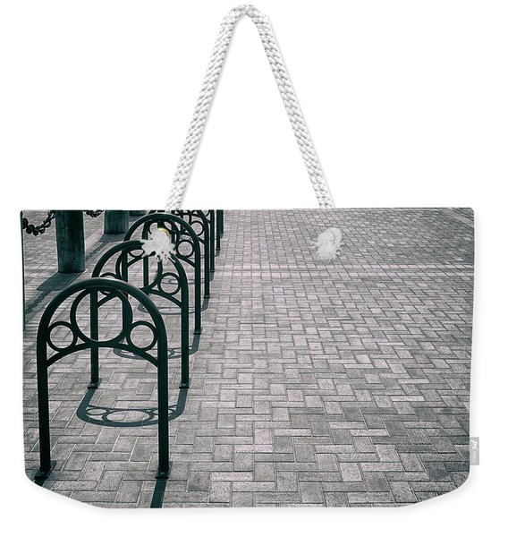 Weekender Tote Bag featuring the photograph Bike Rack Square by Michael Hope