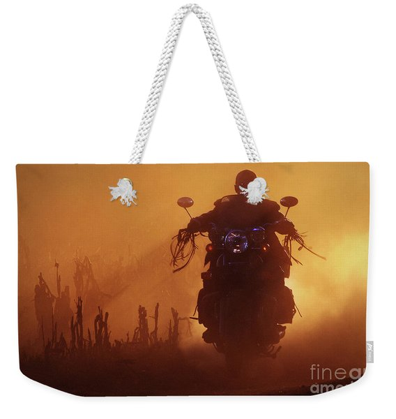 Biker Man Riding Motorcycle On The Sunset Weekender Tote Bag