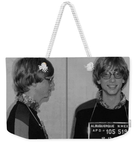 Bill Gates Mug Shot Horizontal Black And White Weekender Tote Bag