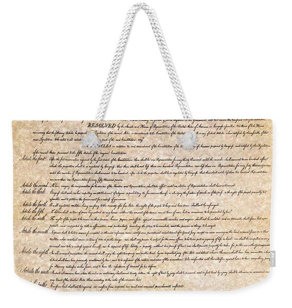 Bill Of Rights Weekender Tote Bag