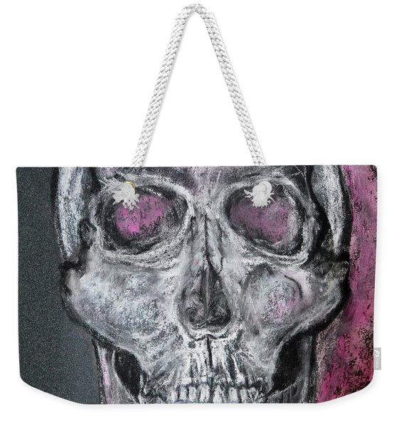 Weekender Tote Bag featuring the pastel Billie's Skull by Kim Nelson