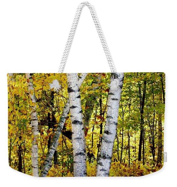 Birch In Gold Weekender Tote Bag