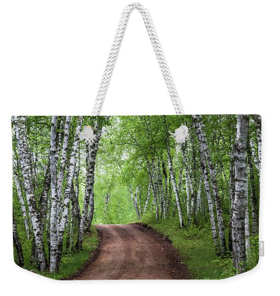 Birch Tree Forest Path #3 Weekender Tote Bag