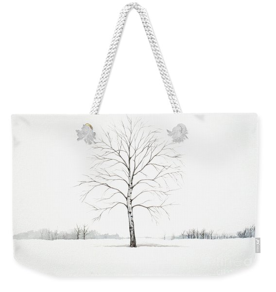 Birch Tree Upon The Winter Plain Weekender Tote Bag