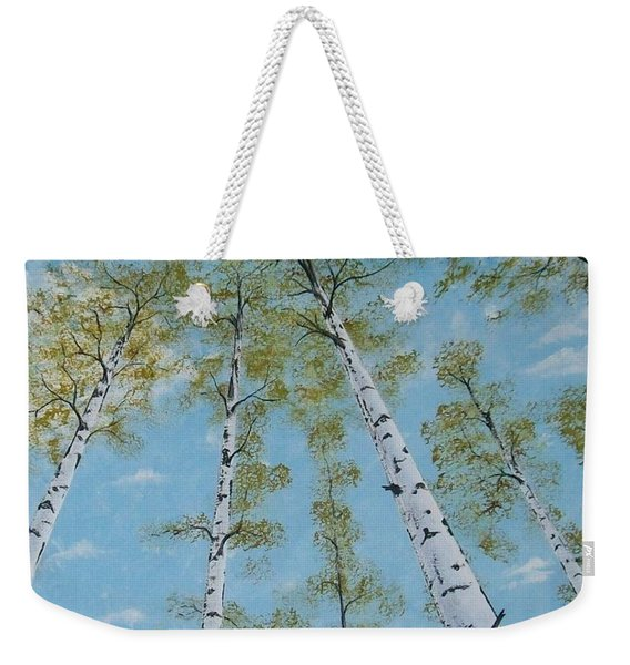 Birch Trees And Sky Weekender Tote Bag