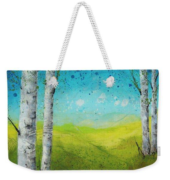 Birches In Green Weekender Tote Bag