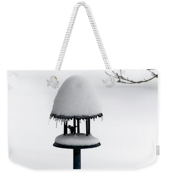 Bird Feeder In Snow Weekender Tote Bag