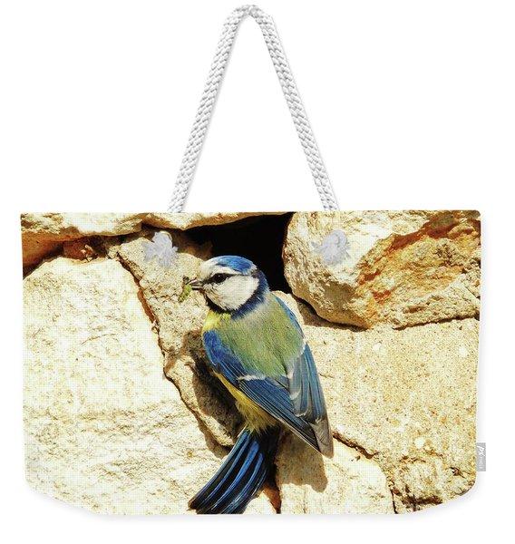 Bird Feeding Chick Weekender Tote Bag