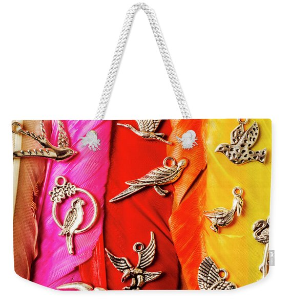 Bird Icons And Rainbow Feathers Weekender Tote Bag