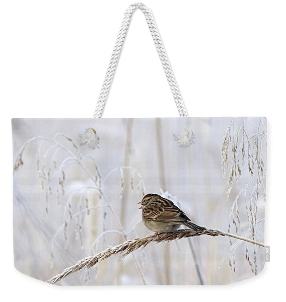 Bird In First Frost Weekender Tote Bag