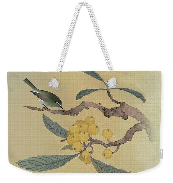 Bird In Loquat Tree Weekender Tote Bag