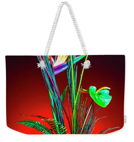 Bird Of Paradise And Anthuriums In Vase Weekender Tote Bag