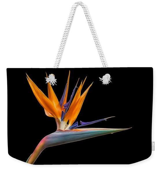 Bird Of Paradise Flower On Black Weekender Tote Bag