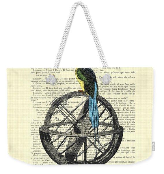 Colorful Bird Of Paradise Sitting On Globe Weekender Tote Bag