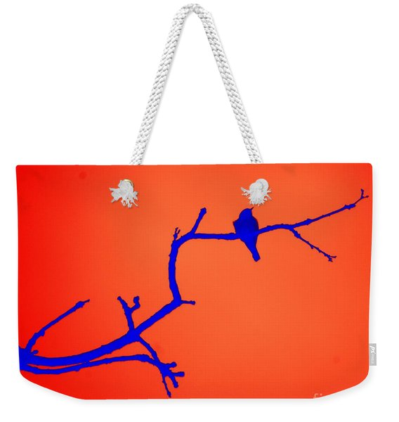 Bird On A Branch At Sunset Weekender Tote Bag