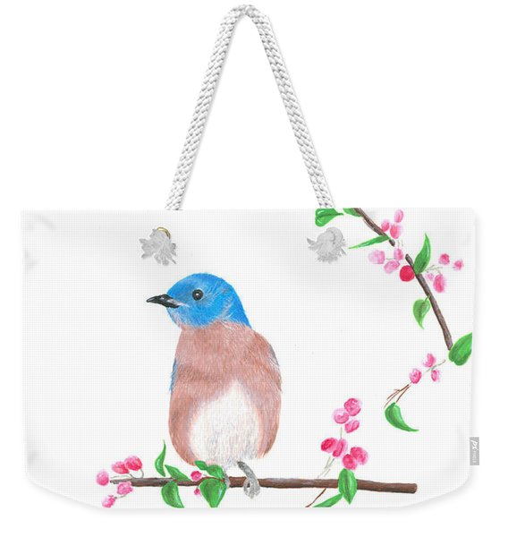 Minimal Bird And Cherry Flowers Weekender Tote Bag
