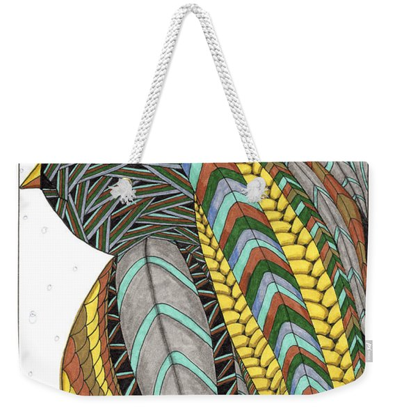 Weekender Tote Bag featuring the drawing Bird_inquisitive_s007 by Barbara McConoughey