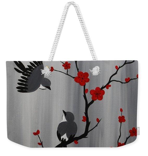 Birds And Blooms In Red Weekender Tote Bag
