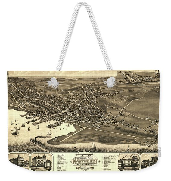Bird's Eye View Of The Town Of Nantucket In The State Of Massachusetts Weekender Tote Bag