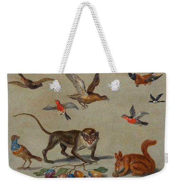 Birds Flying Around A Monkey Weekender Tote Bag