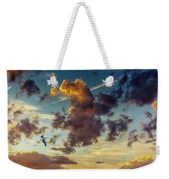 Birds In Flight At Sunset Weekender Tote Bag