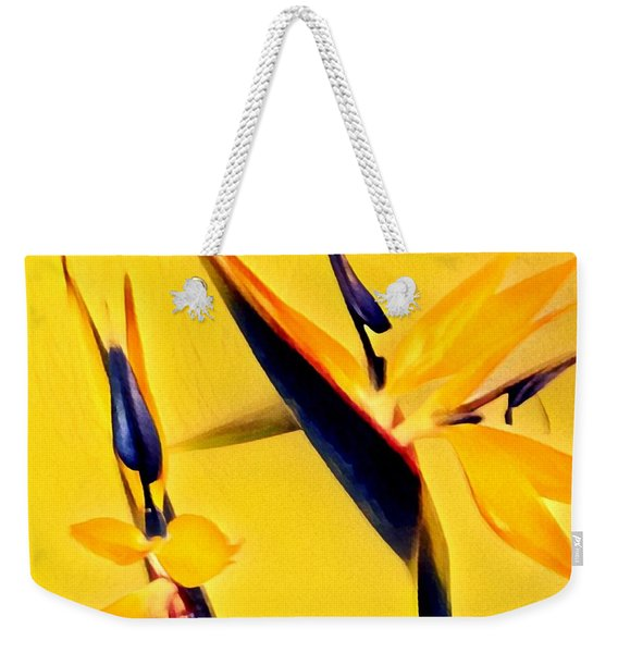 Birds Of Paradise - Two In Gold Weekender Tote Bag