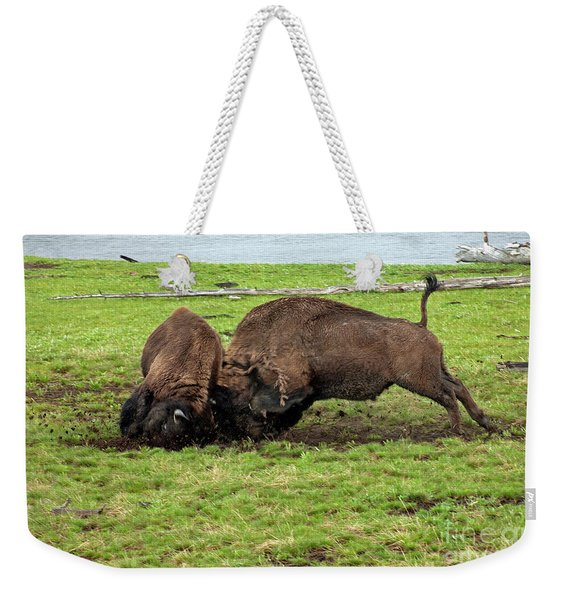 Bison Fighting Weekender Tote Bag