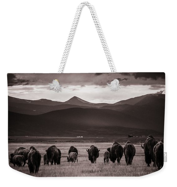 Bison Herd Into The Sunset - Bw Weekender Tote Bag