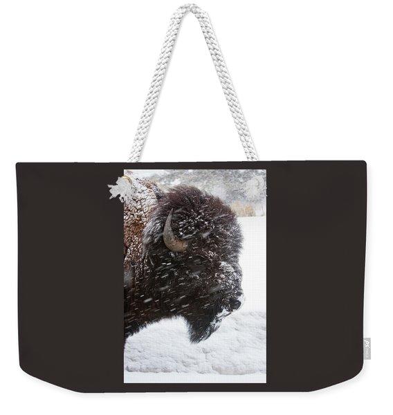 Bison In Snow Weekender Tote Bag