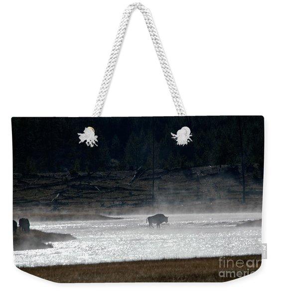 Bison In The River Weekender Tote Bag