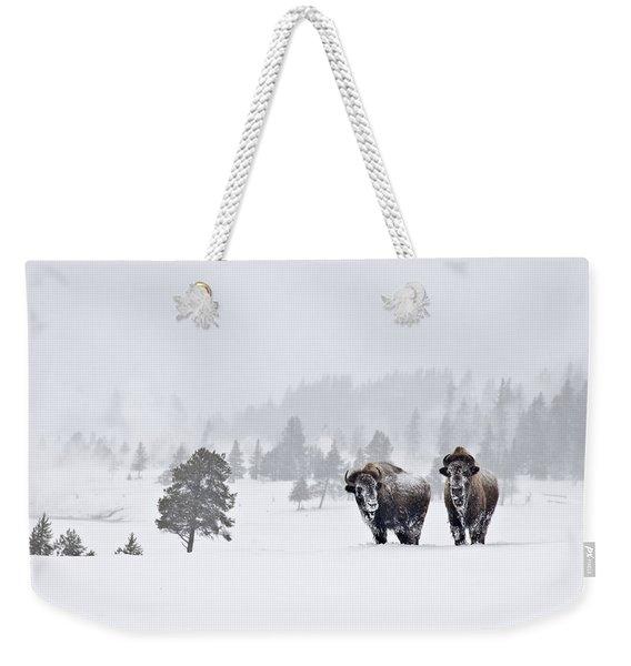 Bison In The Snow Weekender Tote Bag