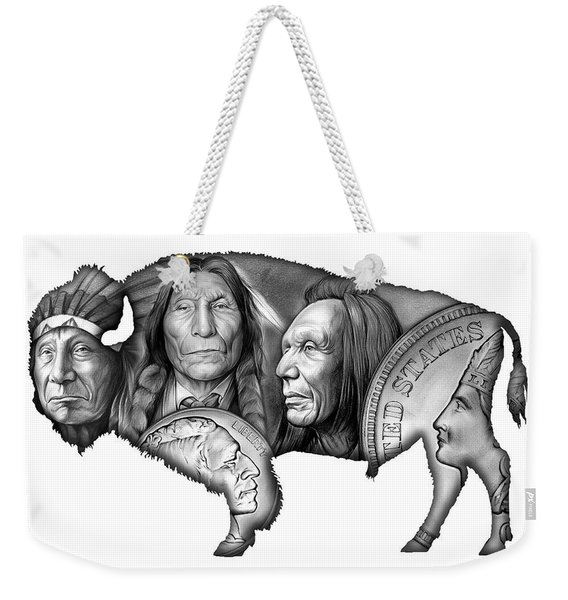 Bison Indian Montage 2 Weekender Tote Bag