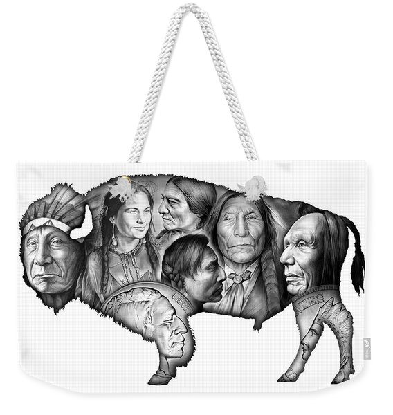 Bison Indian Montage Weekender Tote Bag