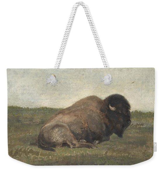 Bison Lying Down Weekender Tote Bag