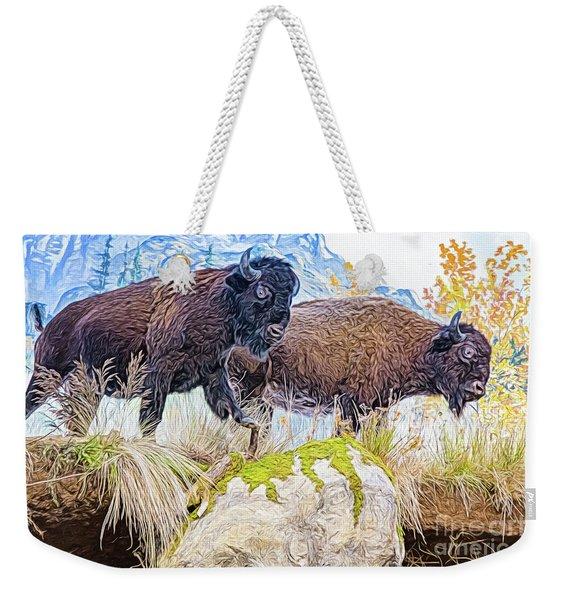 Bison Pair Weekender Tote Bag