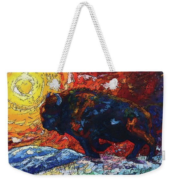 Bison Running Print Of Olena Art Wild The Storm Oil Painting With Palette Knife  Weekender Tote Bag
