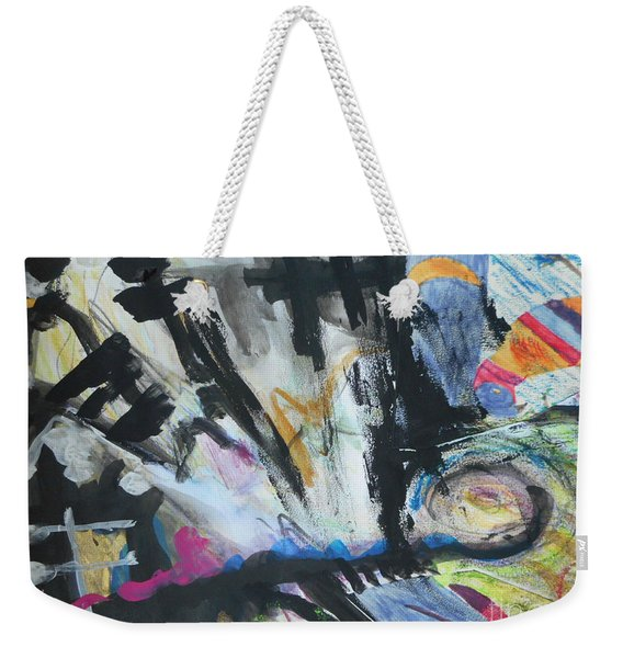 Black Abstract Weekender Tote Bag