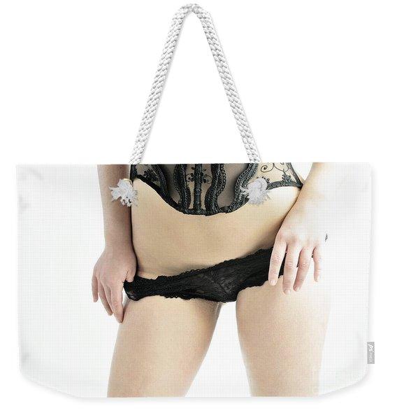 Black And Black Weekender Tote Bag