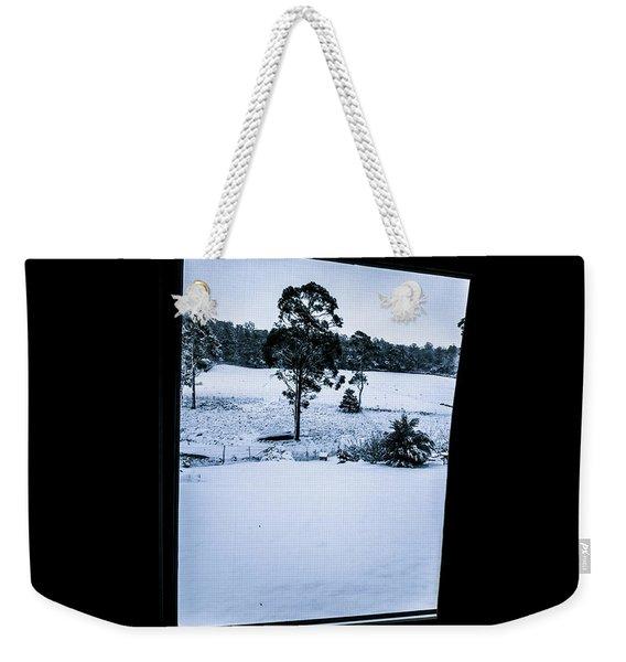 Black And Blue Snow Landscape Weekender Tote Bag