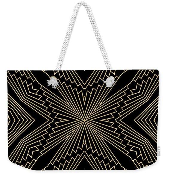Black And Gold Art Deco Filigree 003 Weekender Tote Bag