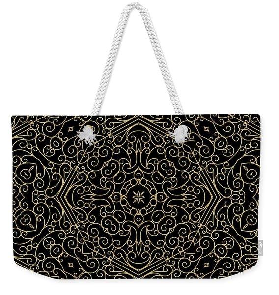 Black And Gold Filigree 002 Weekender Tote Bag