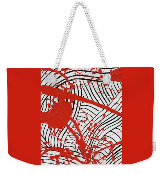 Black And White And Red All Over 2 Weekender Tote Bag