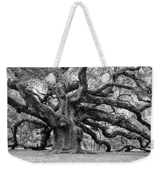 Black And White Angel Oak Tree Weekender Tote Bag