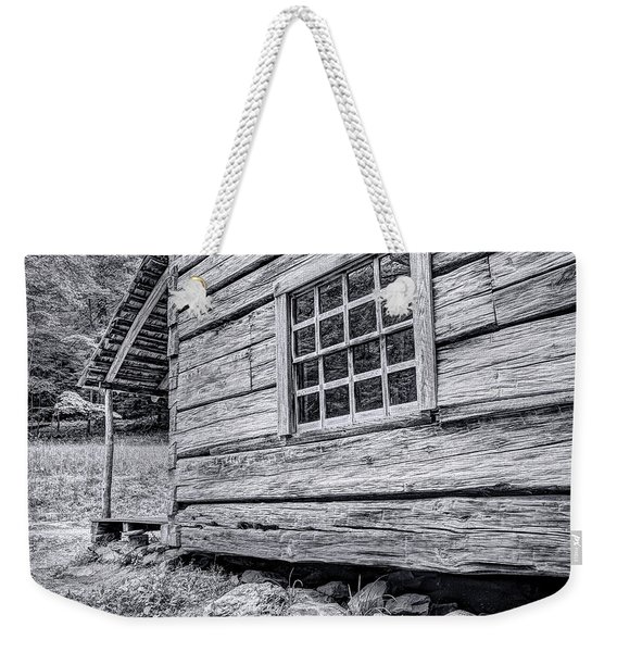 Black And White Cabin In The Forest Weekender Tote Bag