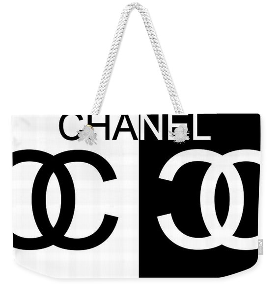 Black And White Chanel Weekender Tote Bag