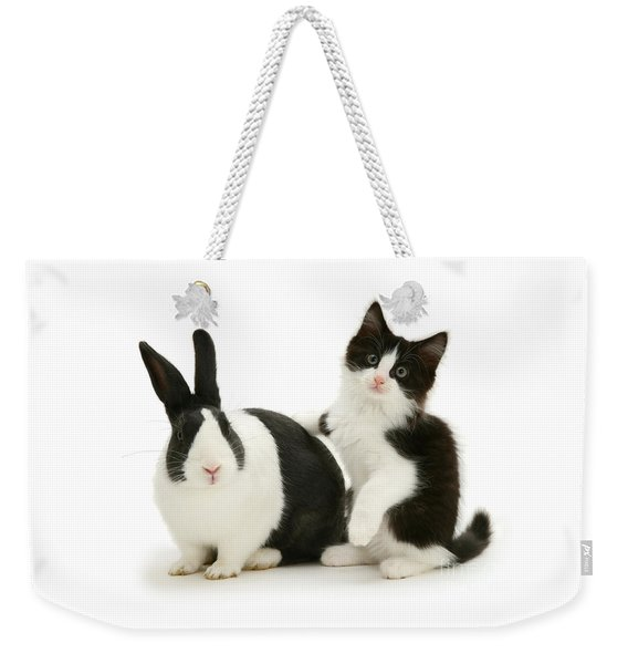 Black And White Double Act Weekender Tote Bag