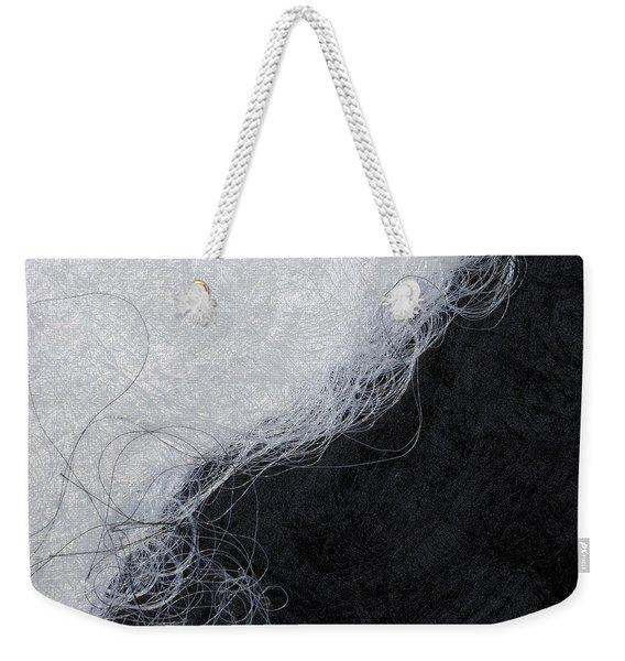 Black And White Fibers - Yin And Yang Weekender Tote Bag