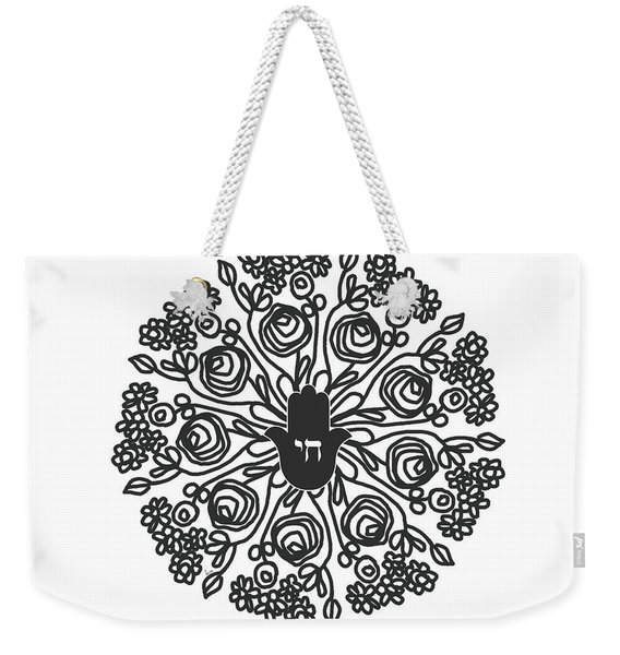 Black And White Hamsa Mandala- Art By Linda Woods Weekender Tote Bag