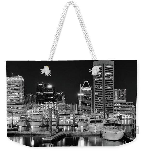 Black And White Harbor Lights Weekender Tote Bag