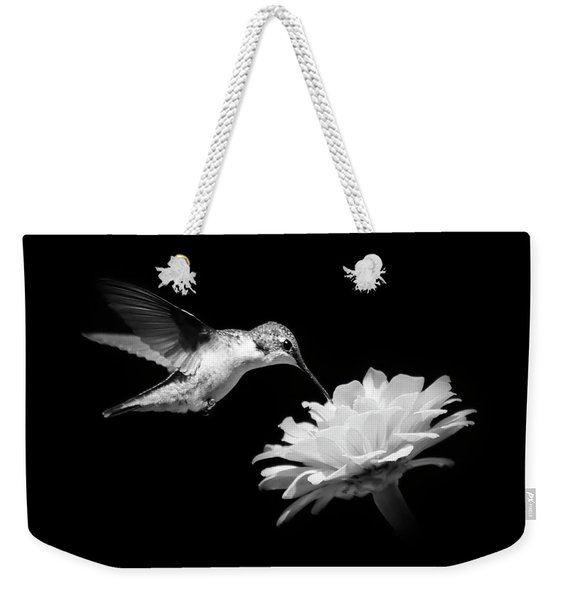 Black And White Hummingbird And Flower Weekender Tote Bag